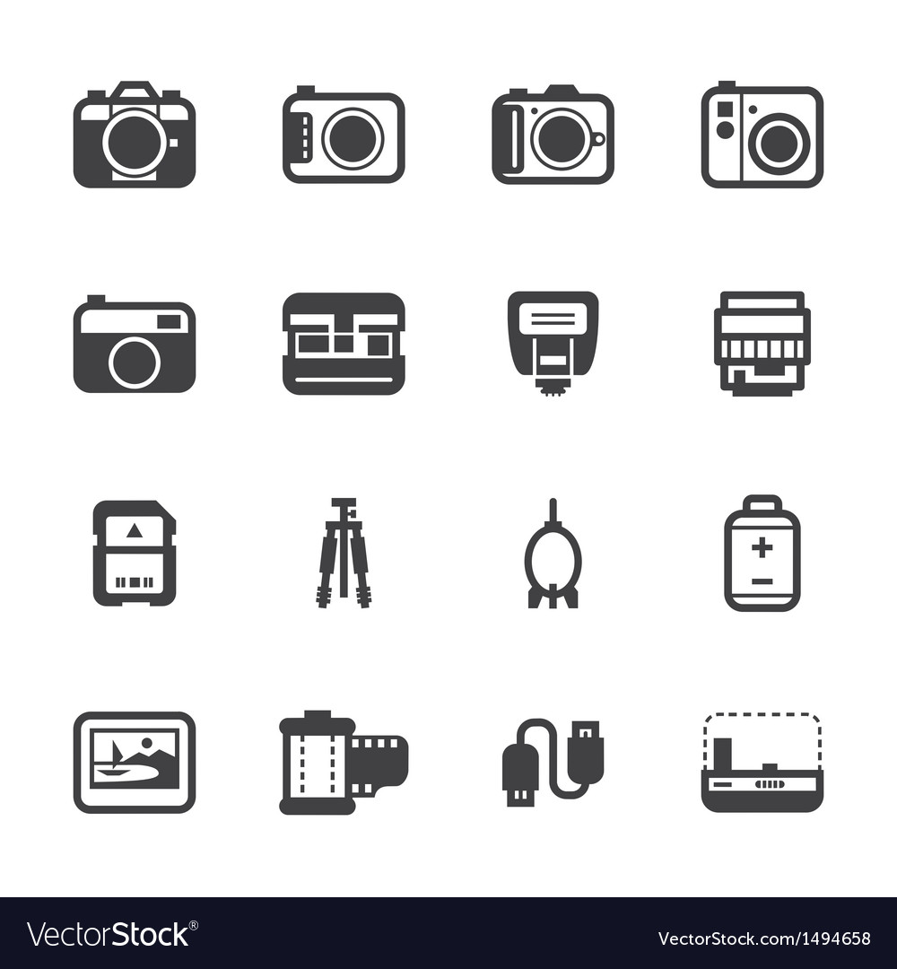 Camera icons and camera accessories icons vector | Price: 1 Credit (USD $1)