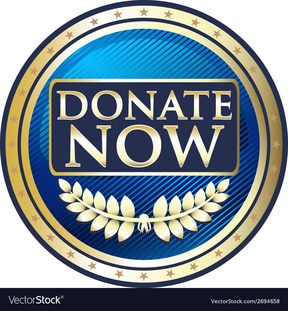 Donate now blue label vector | Price: 1 Credit (USD $1)