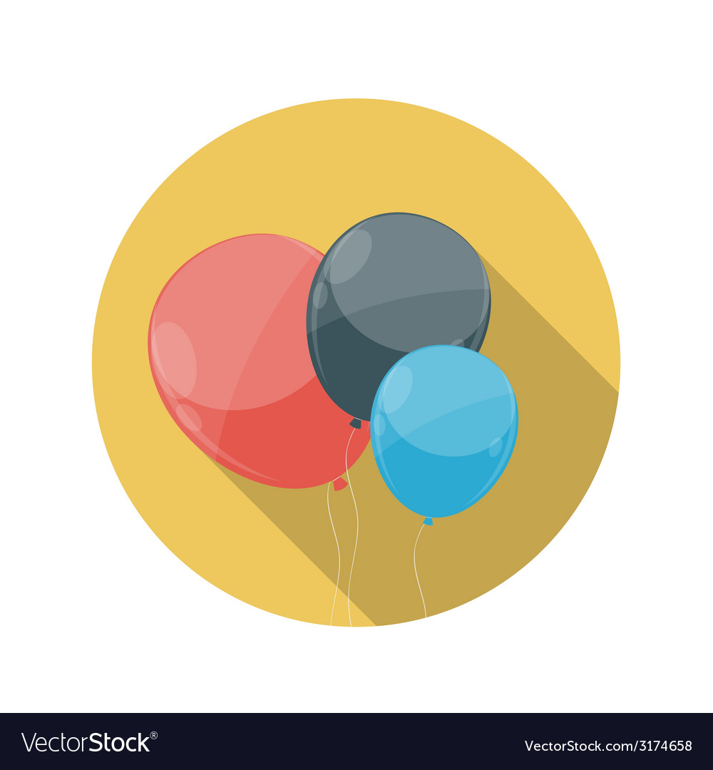 Flat design concept balloons icon with long vector | Price: 1 Credit (USD $1)