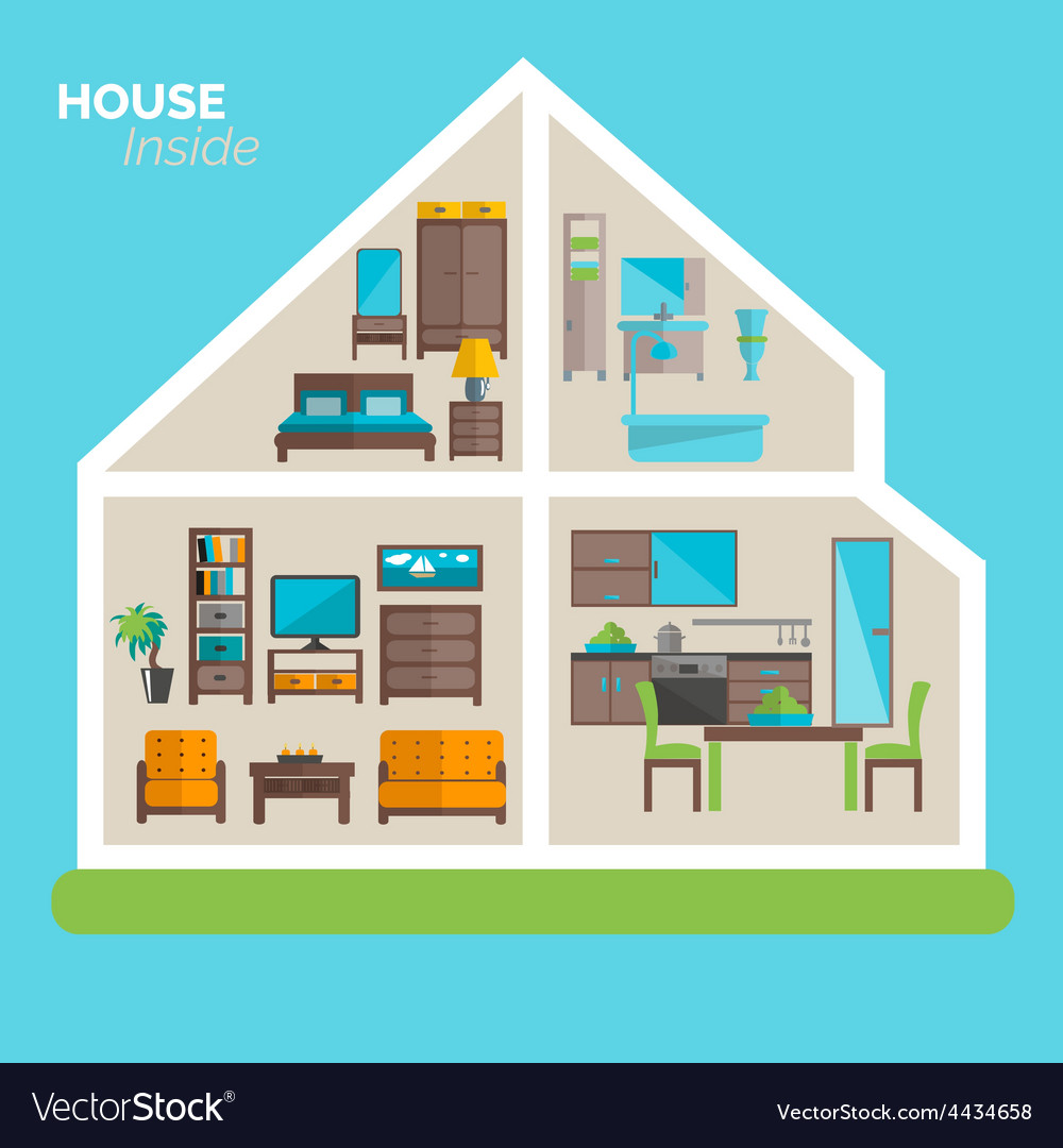 House inside furnishing ideas icon poster vector | Price: 1 Credit (USD $1)