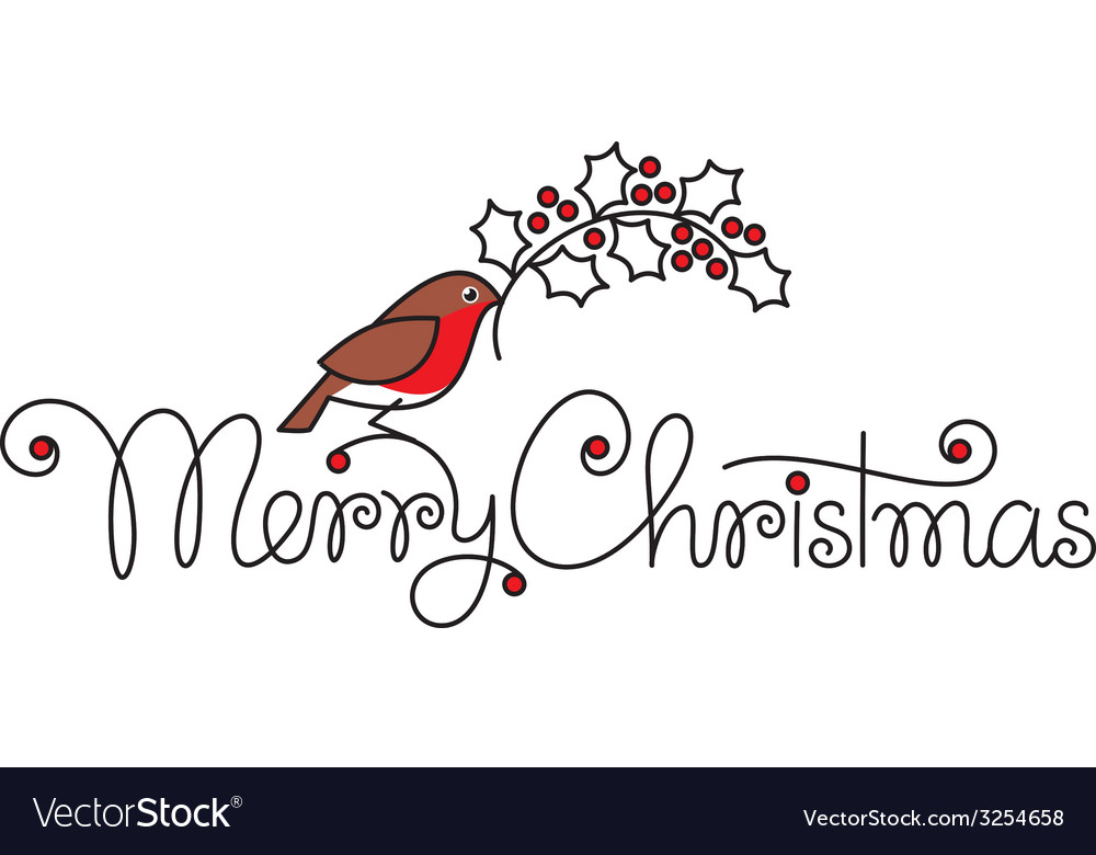 Merry christmas hand lettering with bullfinch vector | Price: 1 Credit (USD $1)
