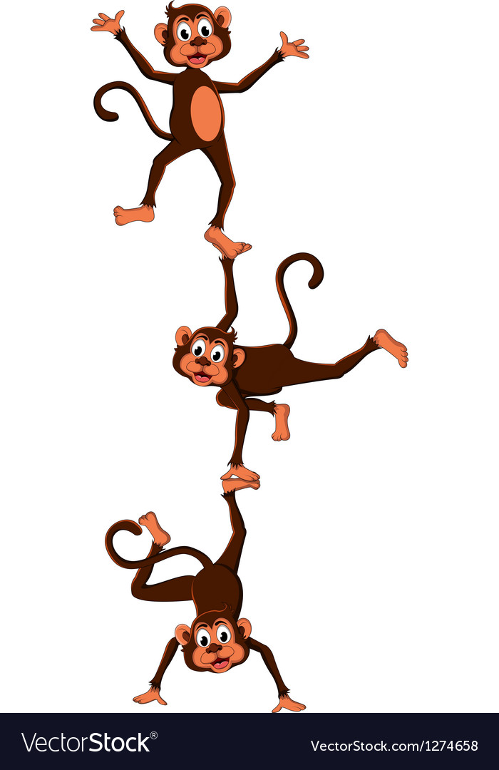 Monkeys cartoon attraction vector | Price: 1 Credit (USD $1)