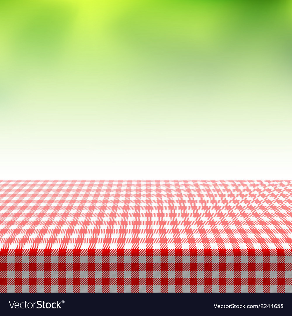 Picnic table covered with checkered tablecloth vector | Price: 1 Credit (USD $1)