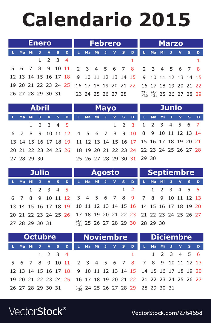 Spanish calendar 2015 vector | Price: 1 Credit (USD $1)