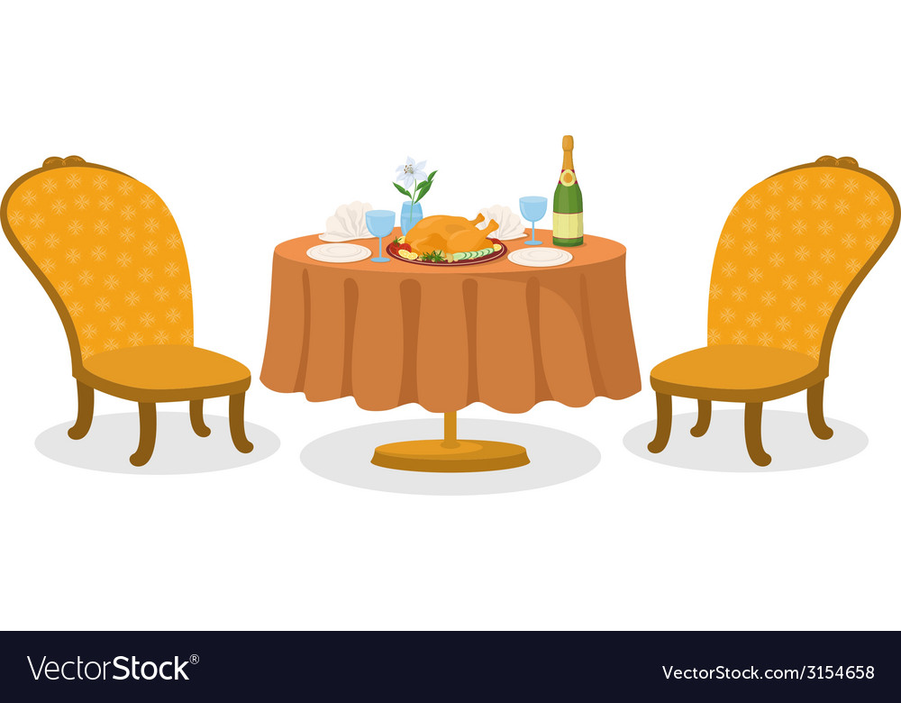 Table with meal isolated vector | Price: 1 Credit (USD $1)