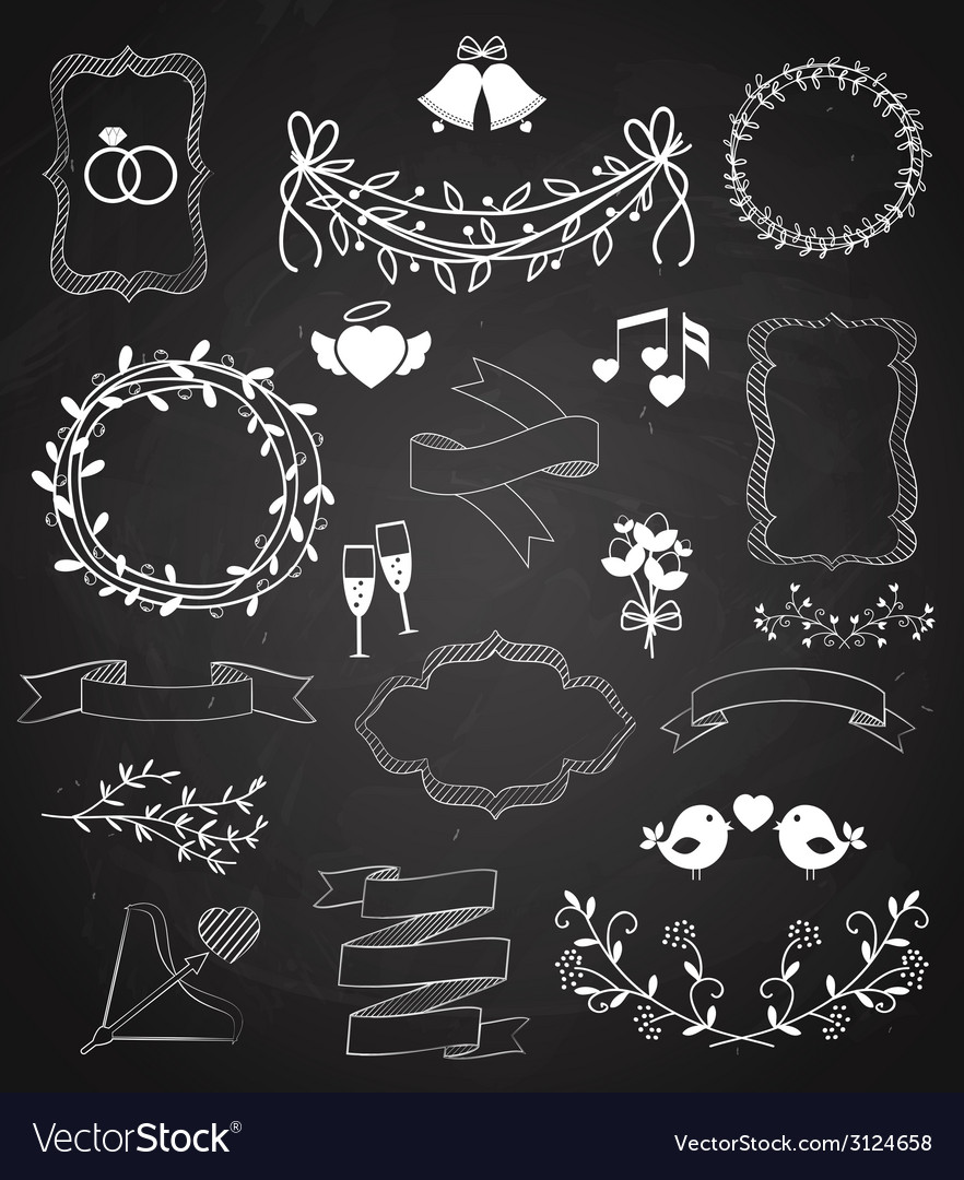 Wedding chalkboard banners and ribbons set vector | Price: 1 Credit (USD $1)