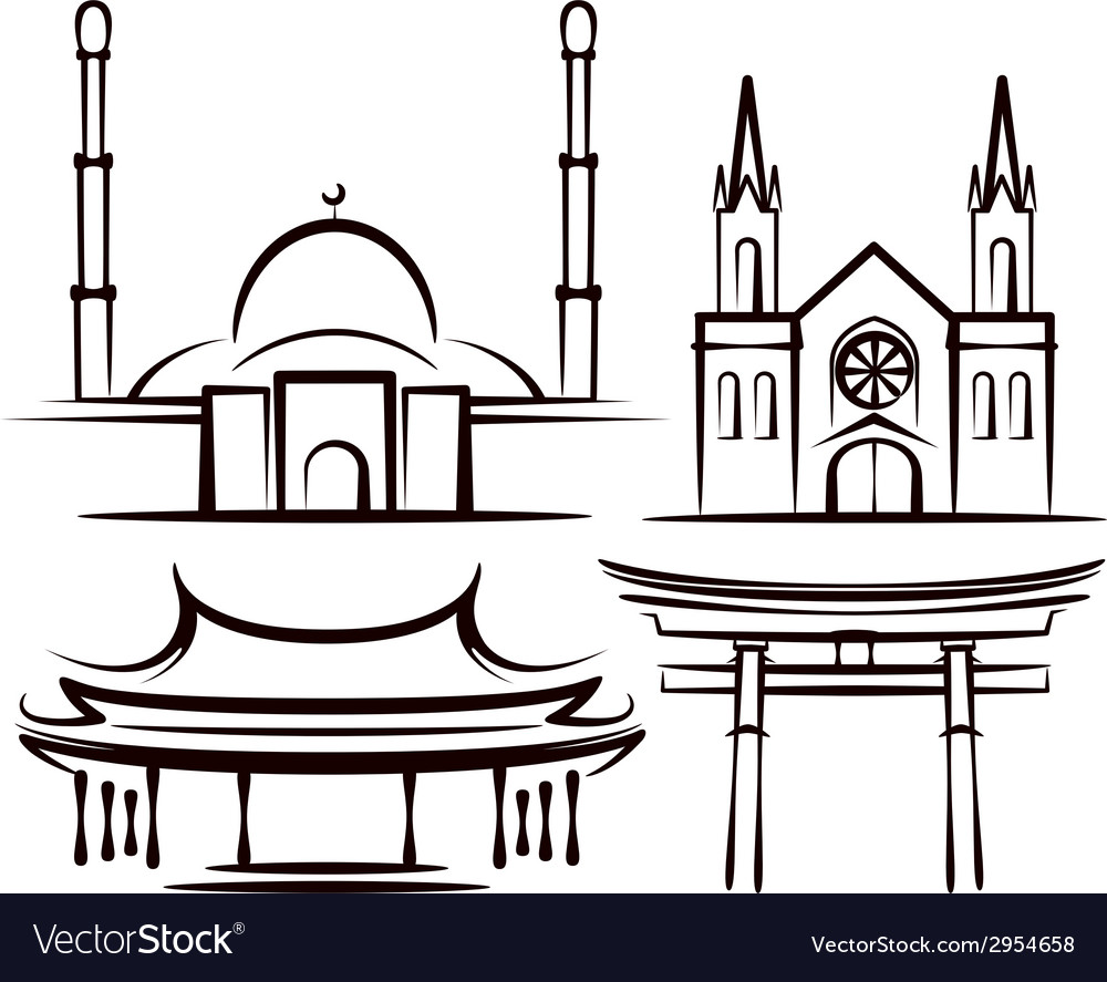 With places of worship vector | Price: 1 Credit (USD $1)