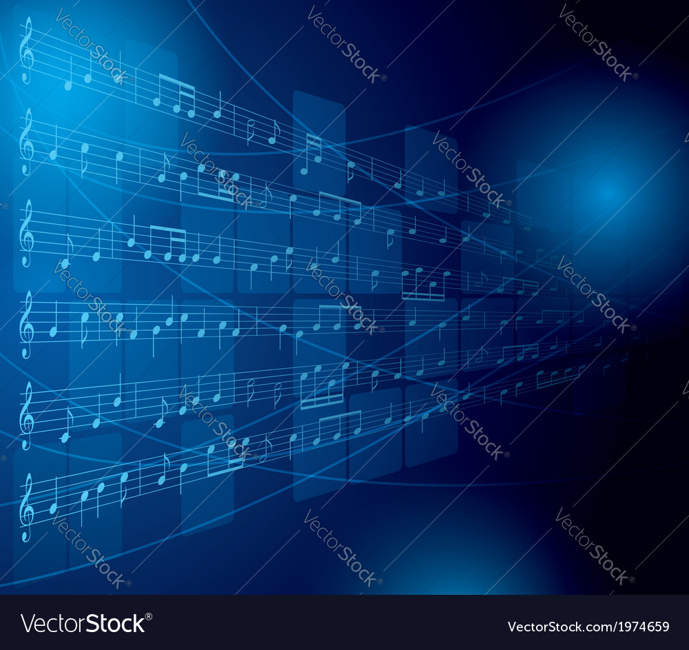 Blue musical background with notes and squares vector | Price: 1 Credit (USD $1)