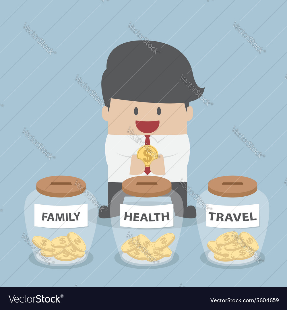 Businessman putting coin into family health trav vector | Price: 1 Credit (USD $1)