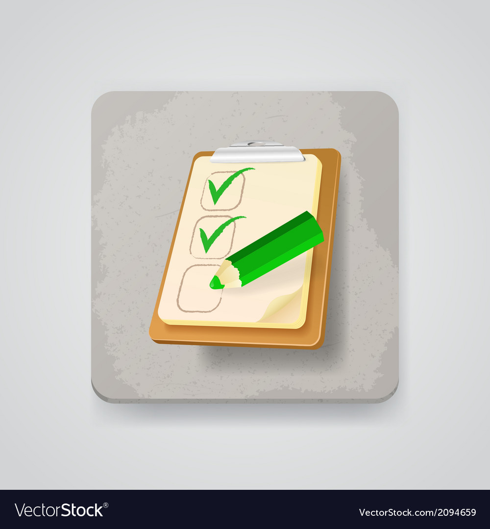 Checklist with a pencil icon vector | Price: 1 Credit (USD $1)