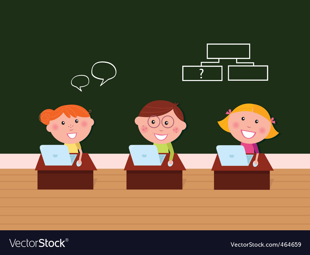 Cute happy kids in classroom vector | Price: 1 Credit (USD $1)