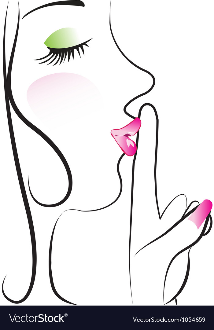 Lady making silence sign vector | Price: 1 Credit (USD $1)
