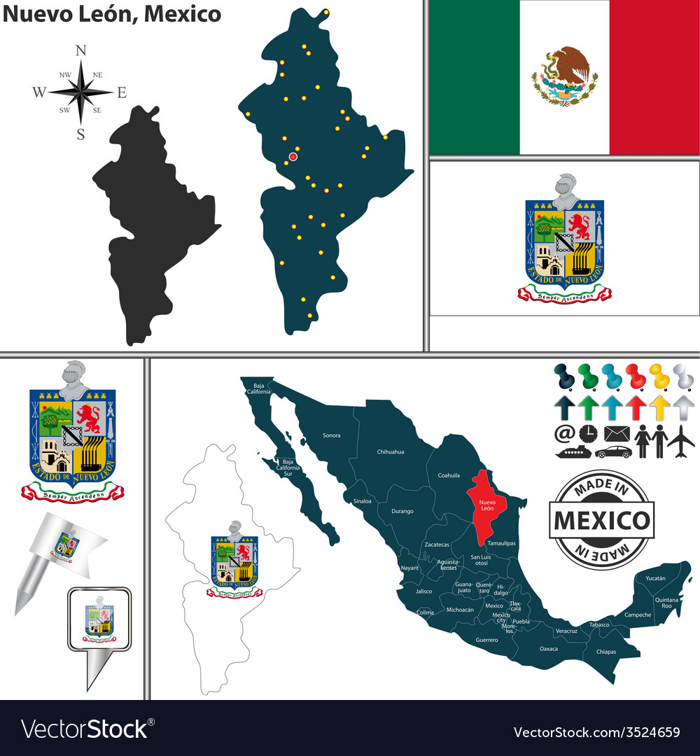 Map of nuevo leon vector | Price: 1 Credit (USD $1)