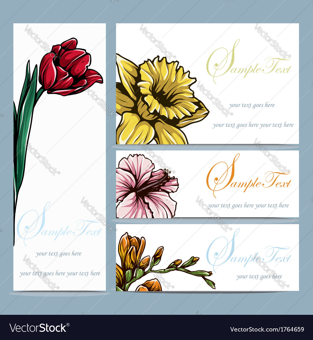Set of four floral invitation card vector | Price: 1 Credit (USD $1)
