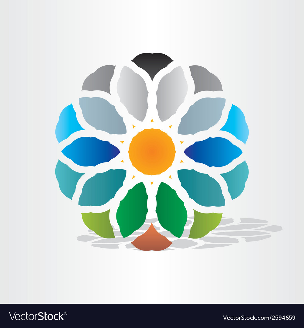 Sun earth water air symbol vector | Price: 1 Credit (USD $1)