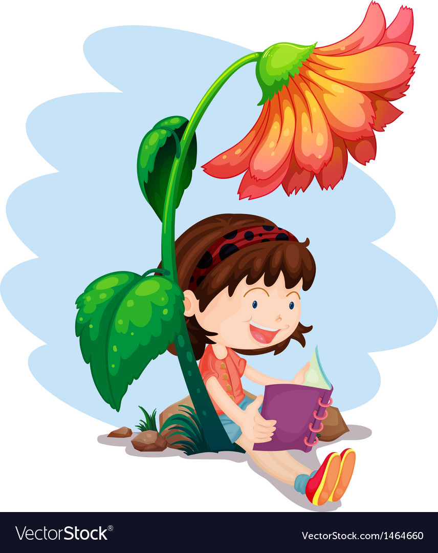 A girl reading a book below the giant flower vector | Price: 1 Credit (USD $1)