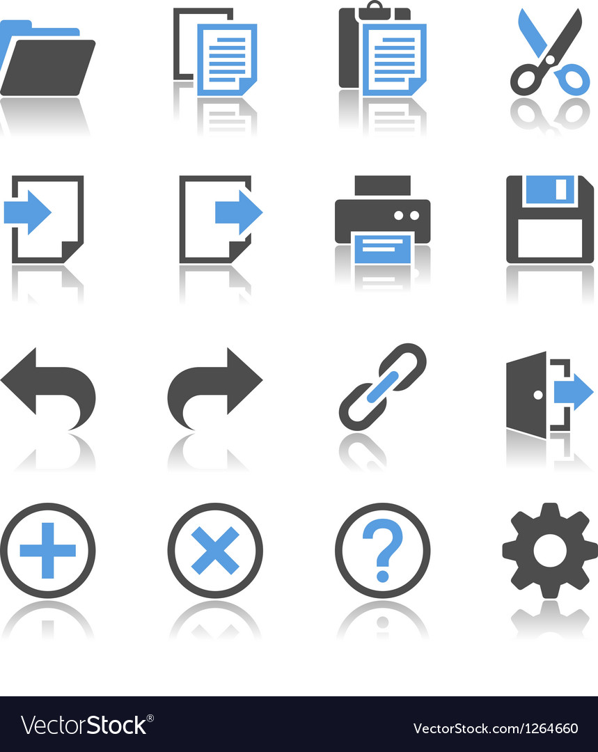 Application toolbar icons reflection vector | Price: 1 Credit (USD $1)