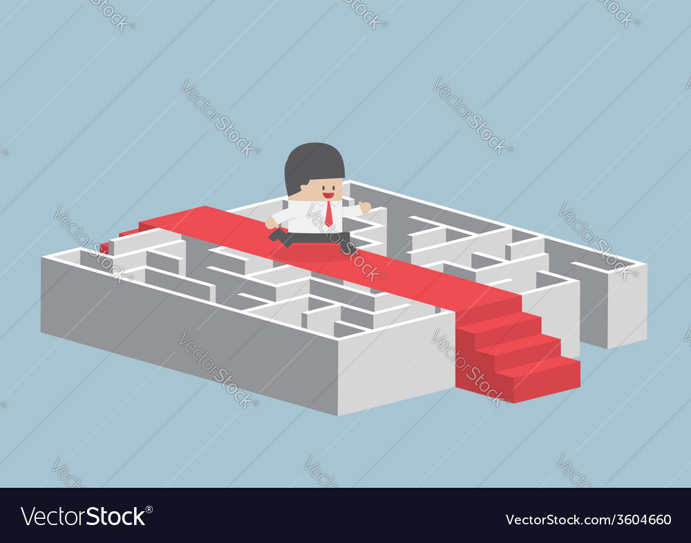Businessman running on the red carpet over the maz vector | Price: 1 Credit (USD $1)