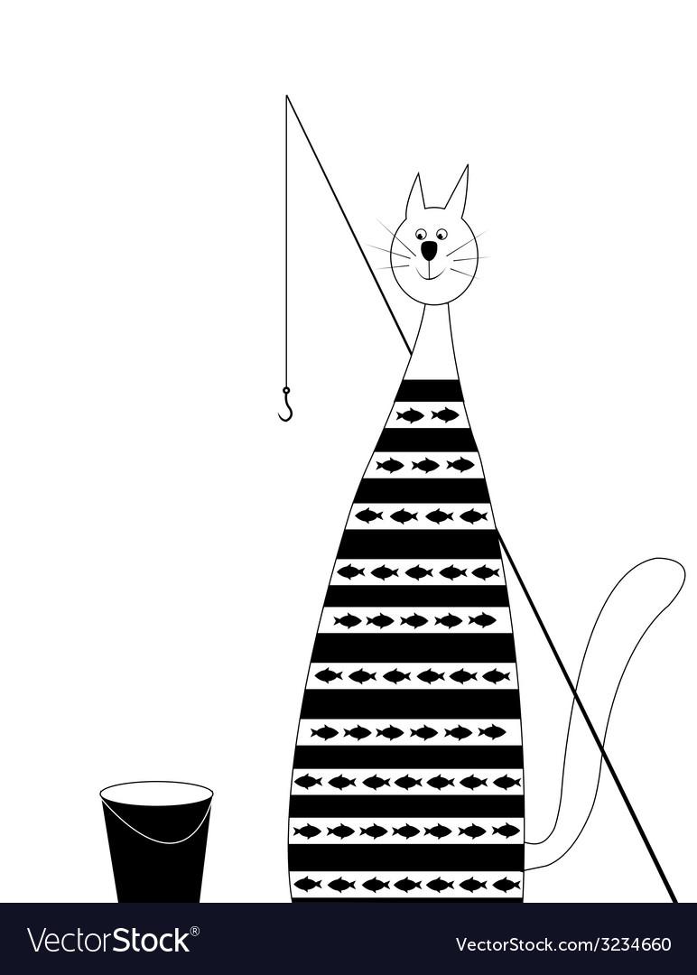 Cat fisherman vector | Price: 1 Credit (USD $1)
