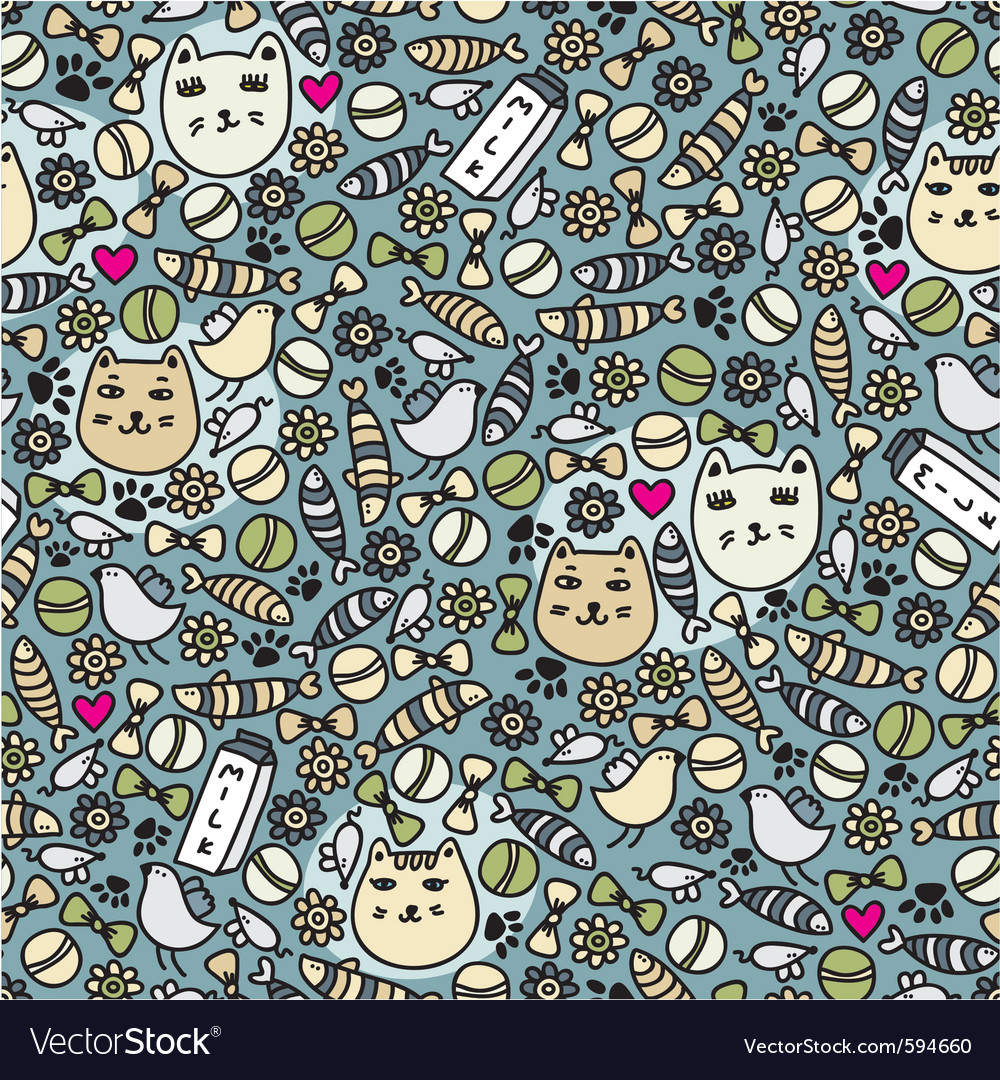 Cats and birds wallpaper vector | Price: 1 Credit (USD $1)