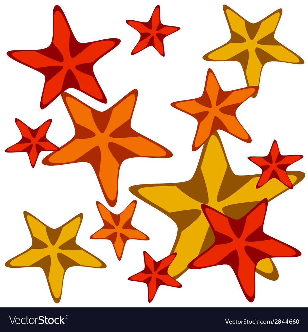 Decorative card with cartoon starfishes vector | Price: 1 Credit (USD $1)