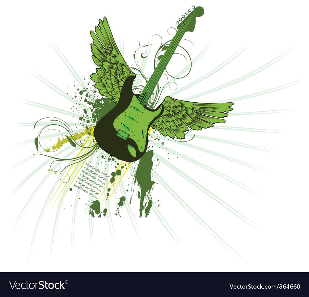 Grunge vintage emblem with guitar vector