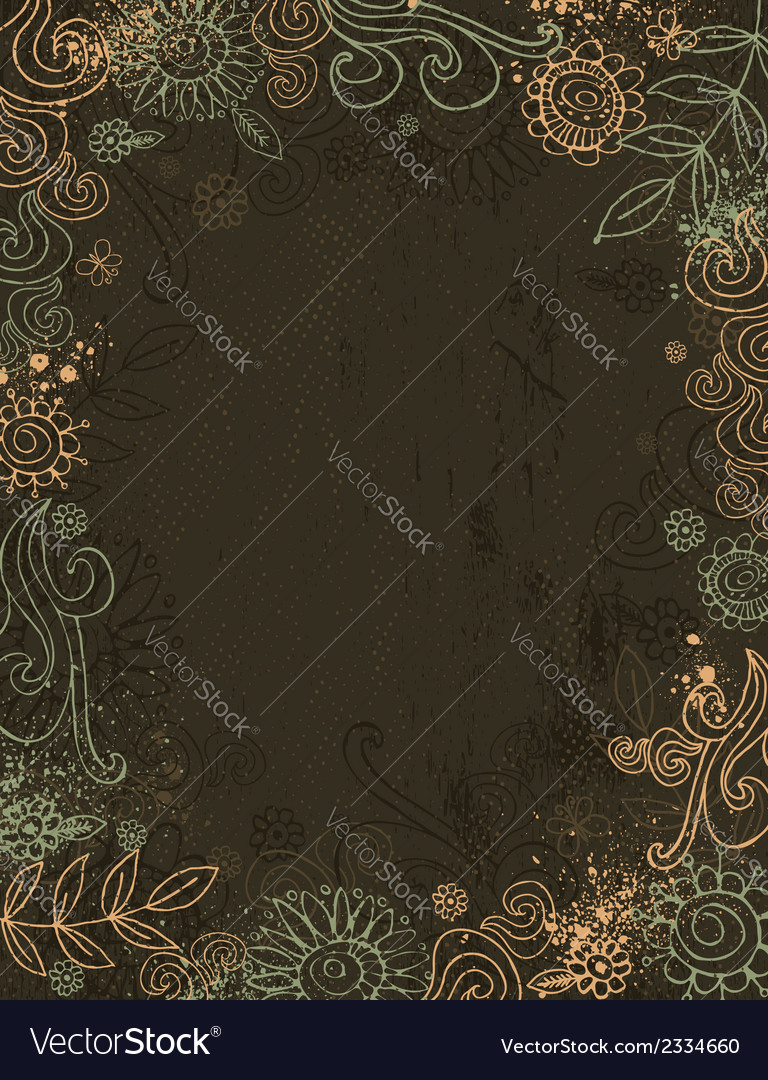 Hand draw flowers on brown background vector | Price: 1 Credit (USD $1)