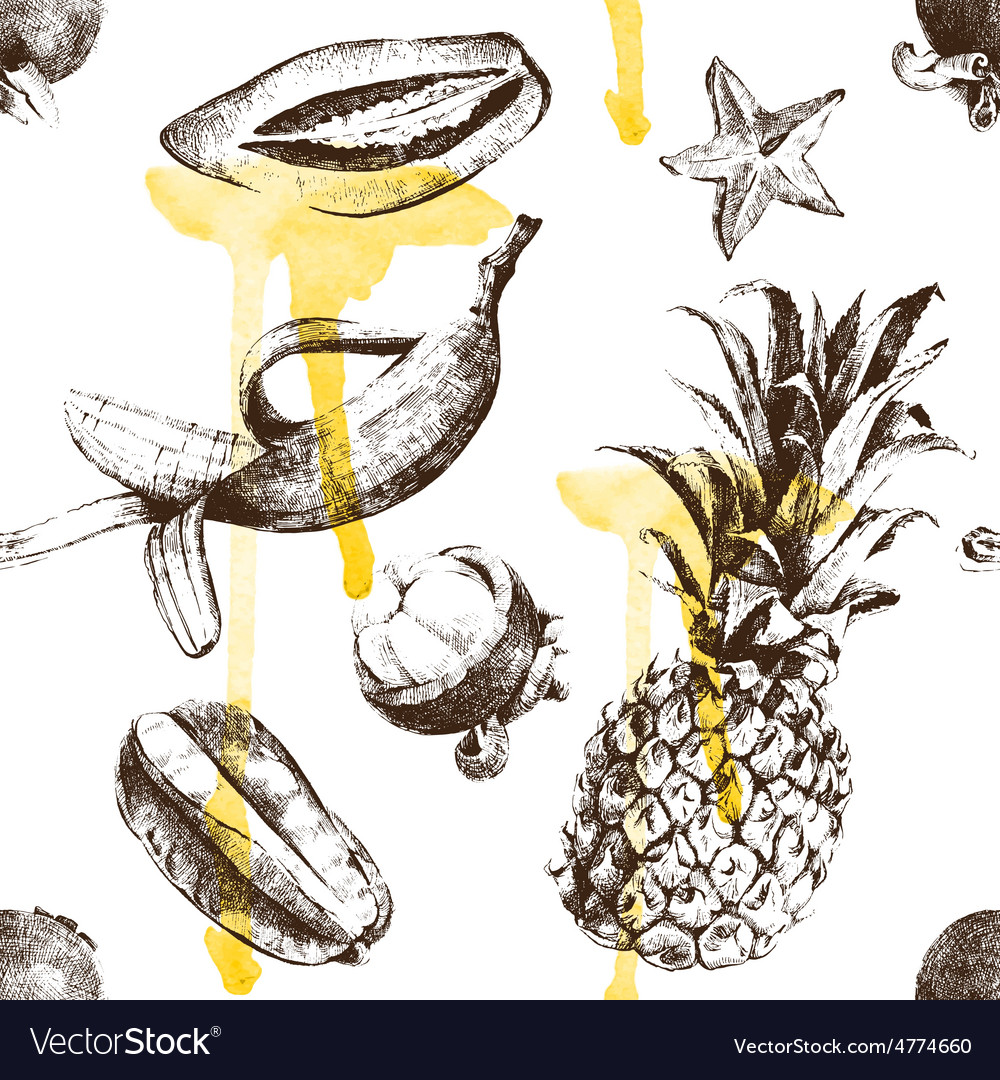 Hand drawn tropical fruits seamless vector | Price: 1 Credit (USD $1)