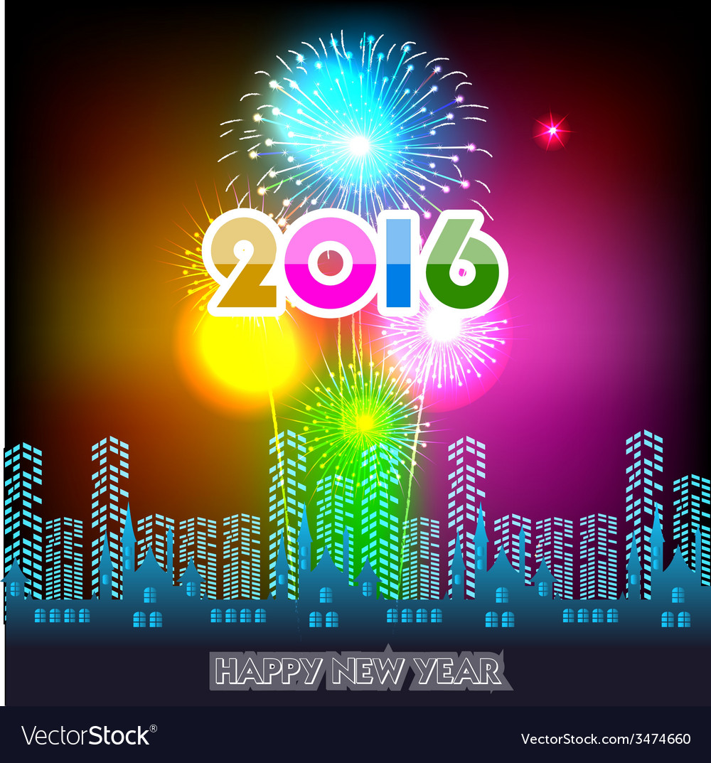 Happy new year 2016 with fireworks background vector | Price: 1 Credit (USD $1)