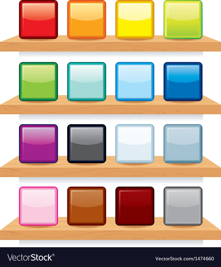 Icon on wood shelf display template design vector | Price: 1 Credit (USD $1)