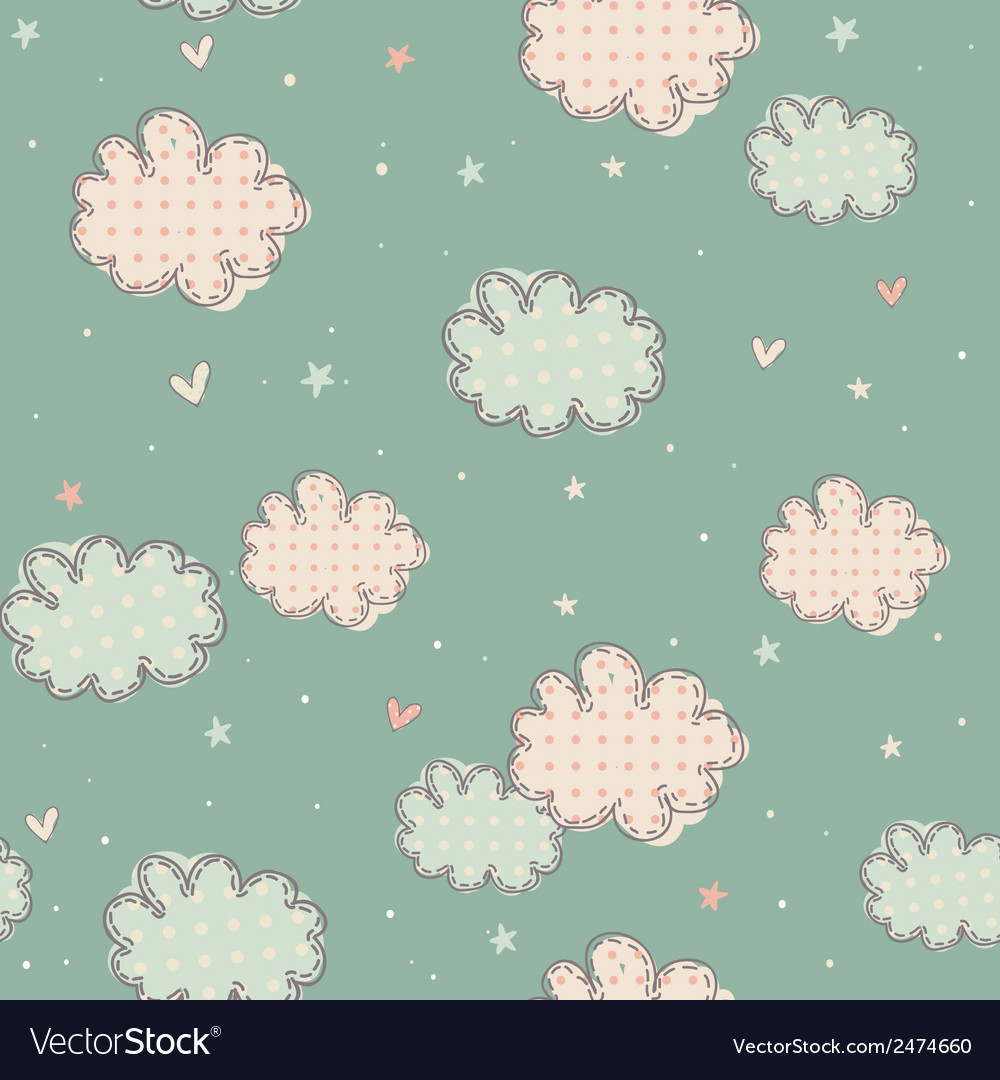 Seamless pattern with clouds vector   Price: 1 Credit (USD $1)