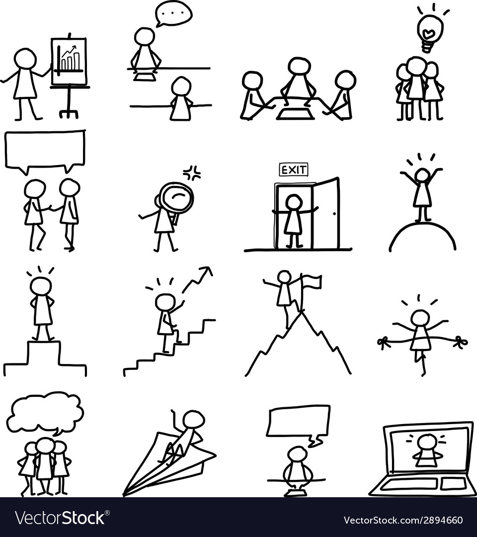 Set of hand drawing cartoon business vector | Price: 1 Credit (USD $1)