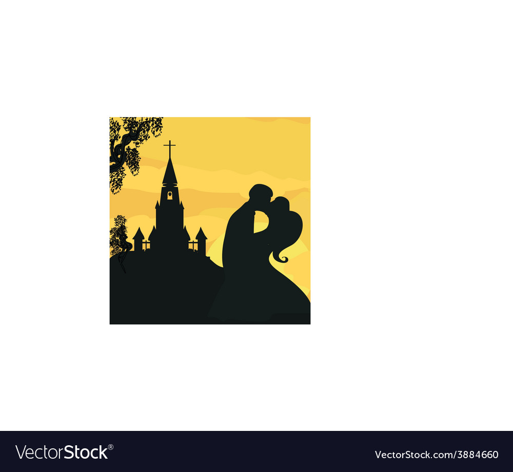 Sunshine church and wedding couple vector | Price: 1 Credit (USD $1)