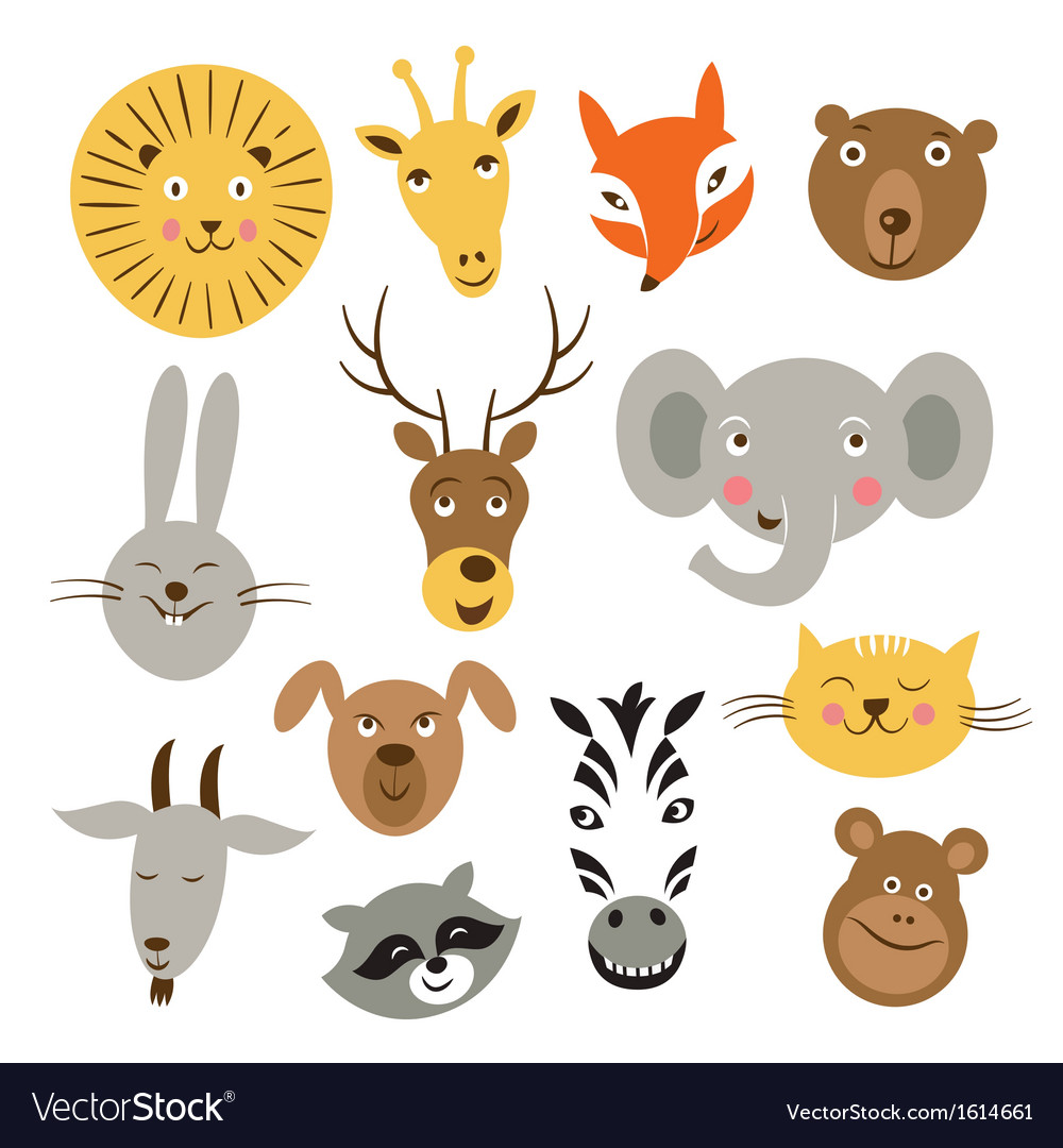 Animal faces vector | Price: 3 Credit (USD $3)