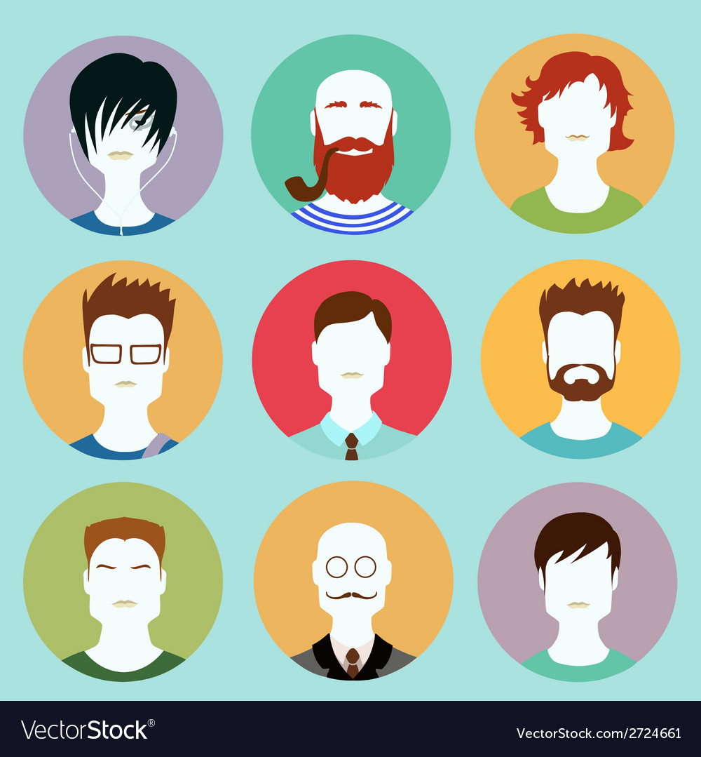 Colorful male faces circle icons set in trendy vector | Price: 1 Credit (USD $1)