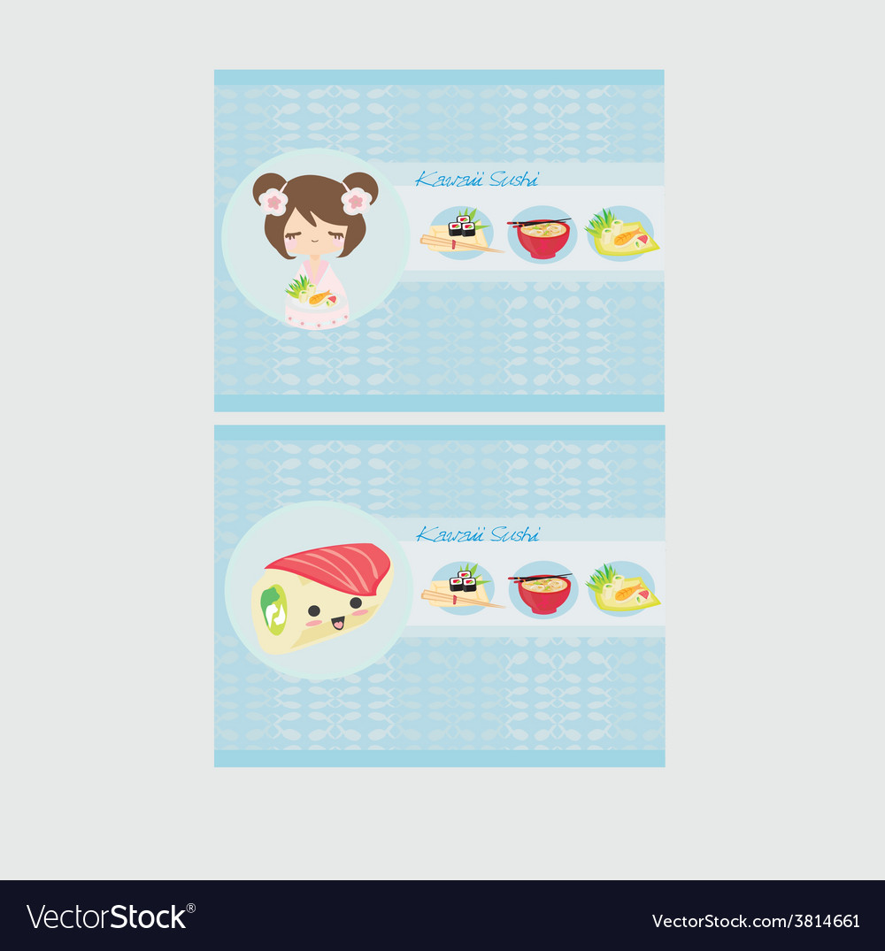 Cute sushi cartoon - card vector | Price: 1 Credit (USD $1)