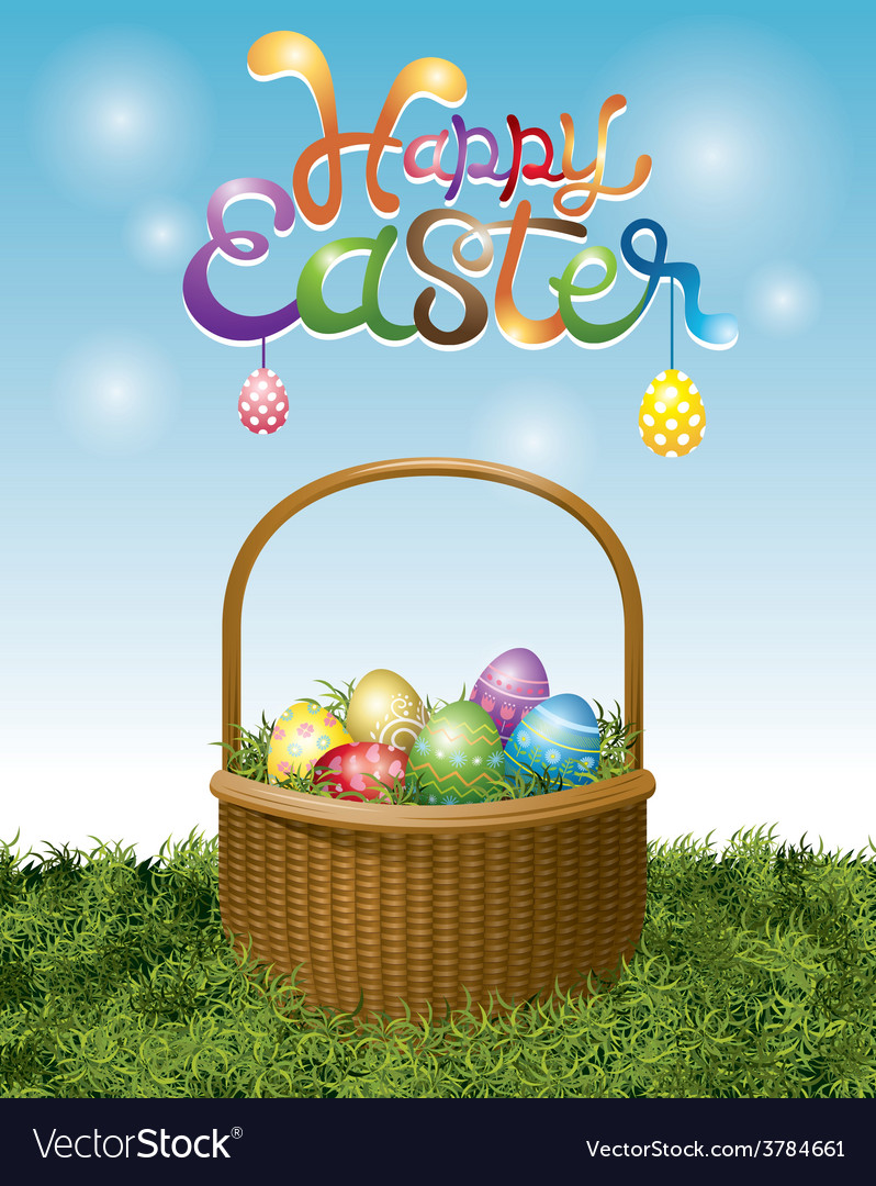 Easter eggs in basket and hanging eggs vector | Price: 3 Credit (USD $3)