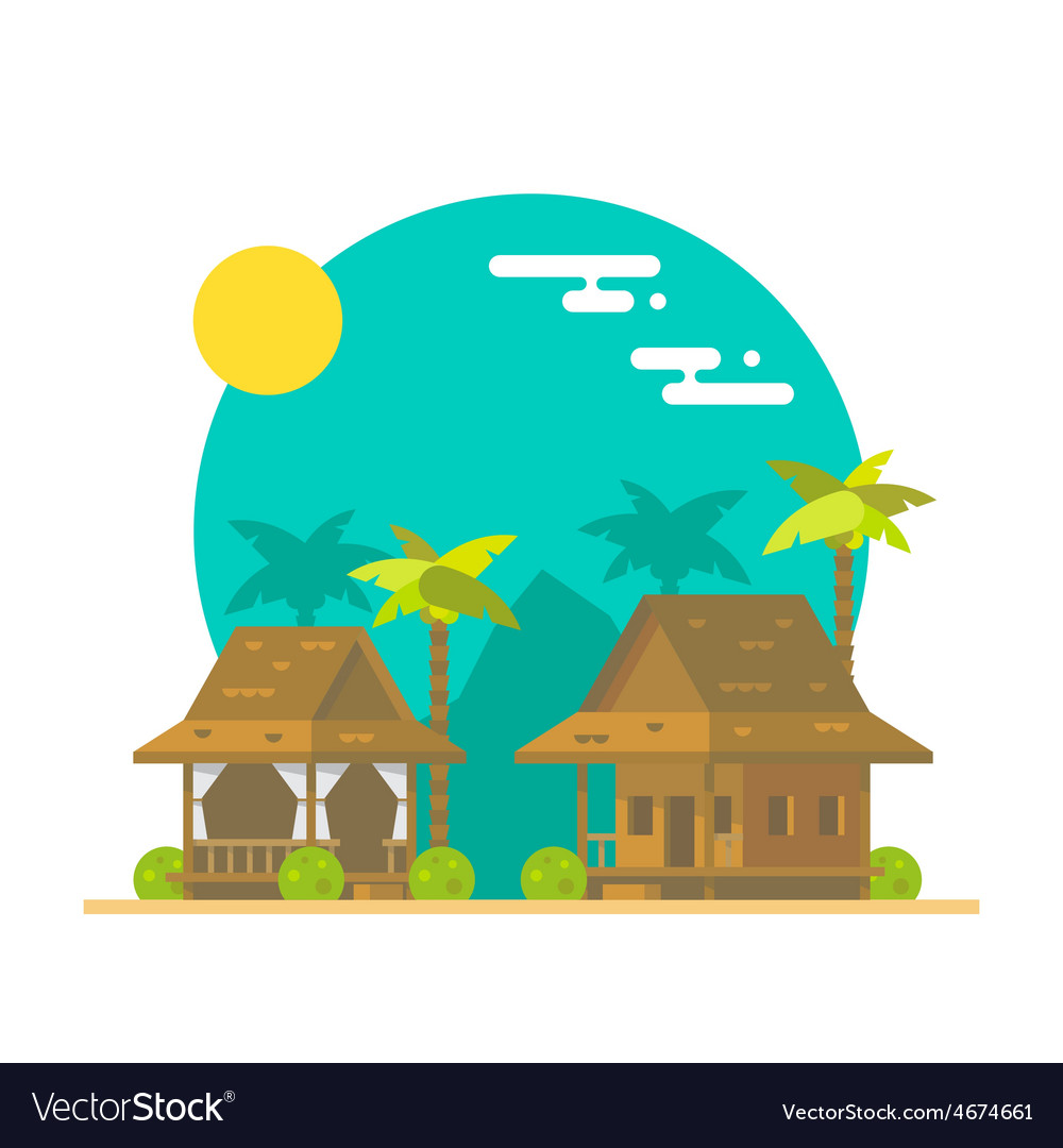 Flat design of beach bungalows vector | Price: 3 Credit (USD $3)