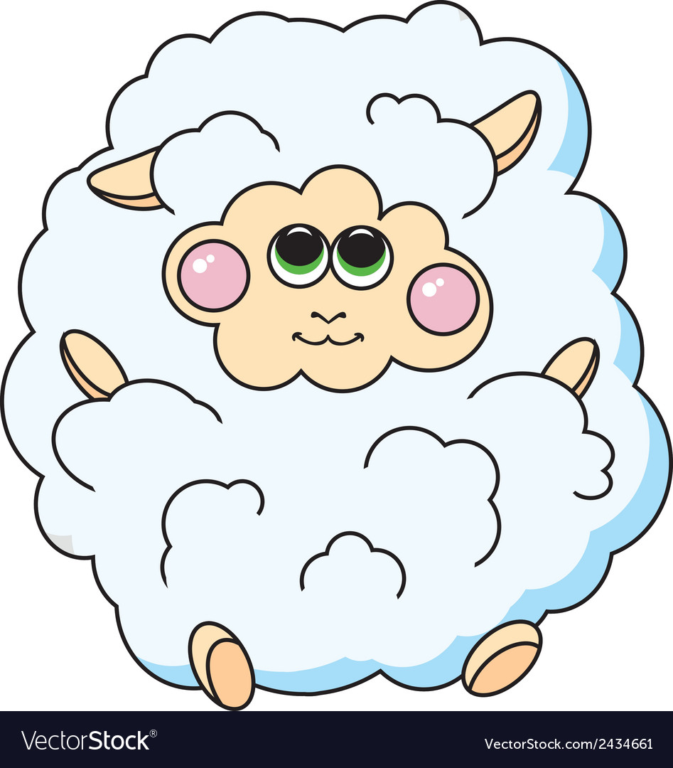 Fun sheep on white background vector | Price: 1 Credit (USD $1)