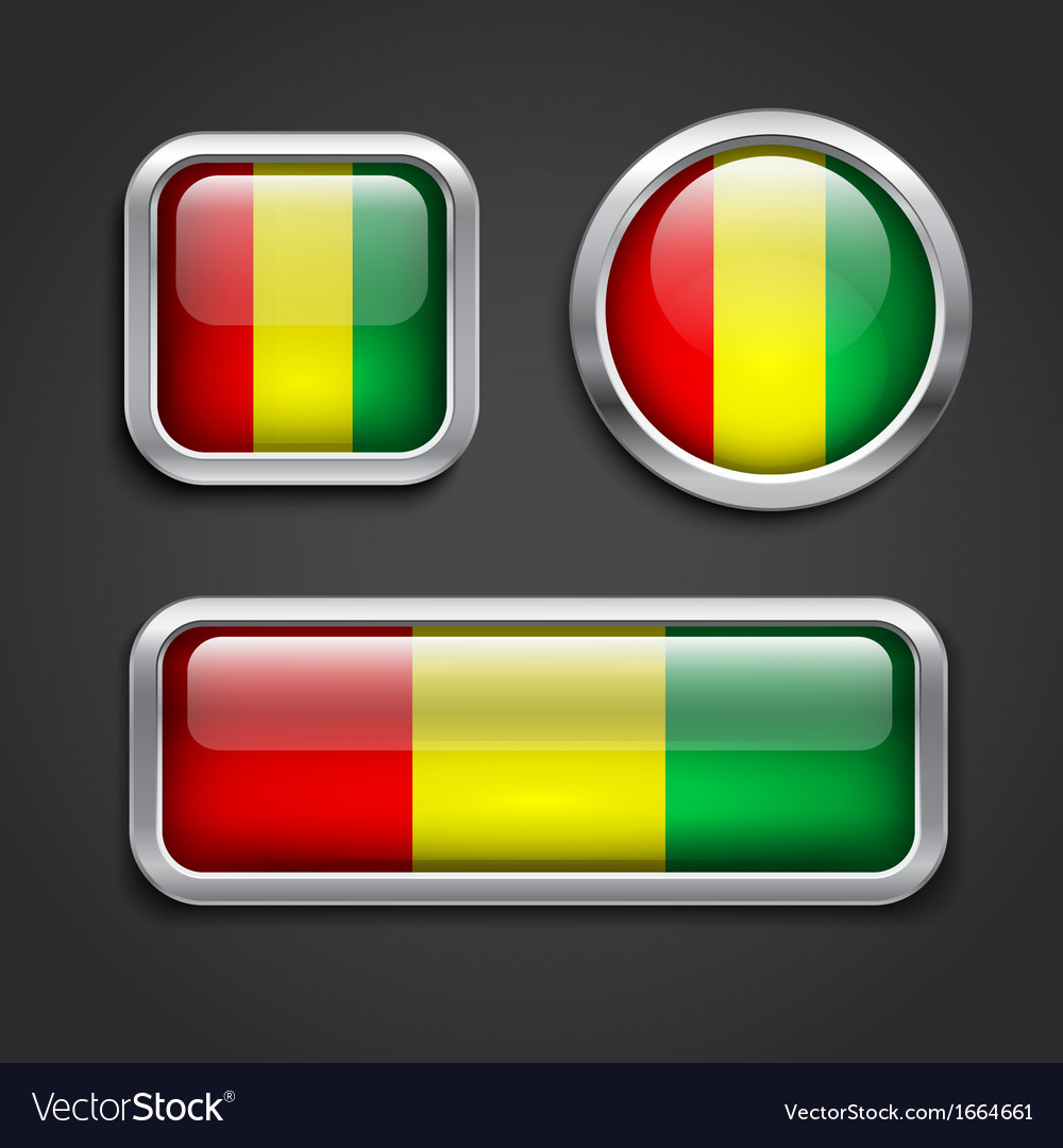 Guinea flag glass buttons vector | Price: 1 Credit (USD $1)