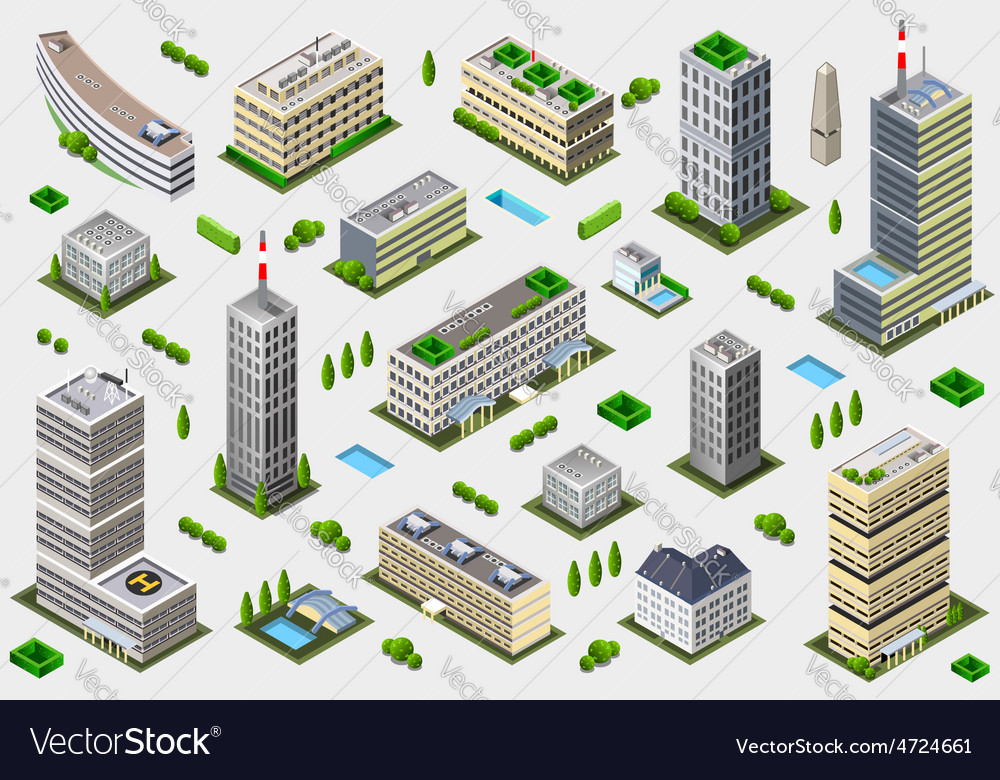 Isometric megalopolis building collection vector | Price: 1 Credit (USD $1)