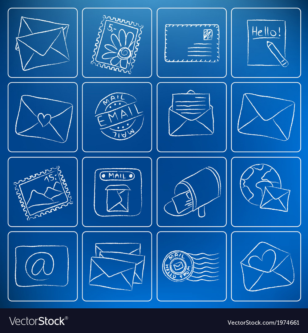 Mail post icons chalky doodles vector | Price: 1 Credit (USD $1)