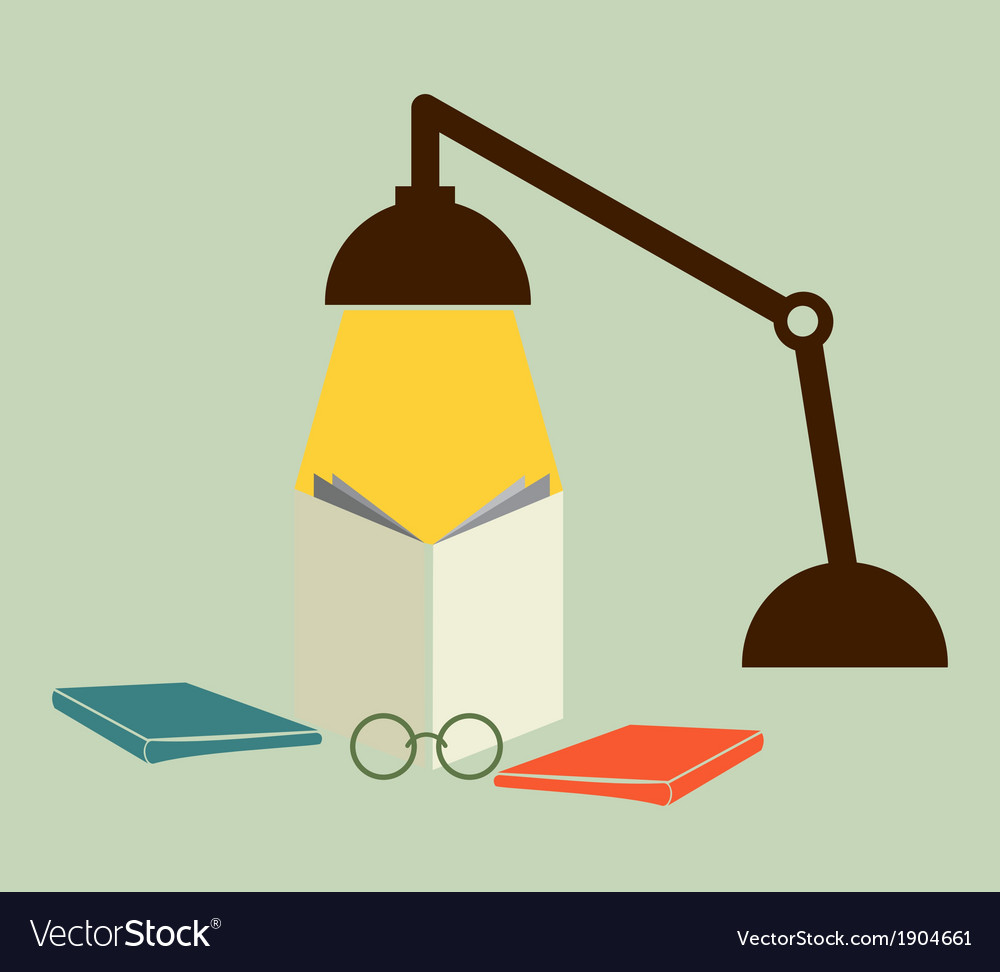 Reading with a lamp vector | Price: 1 Credit (USD $1)