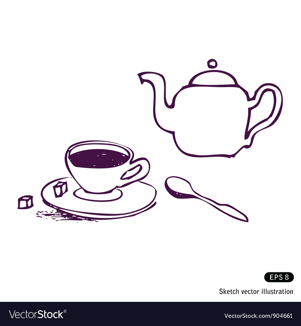 Tea cup and kettle vector | Price: 1 Credit (USD $1)