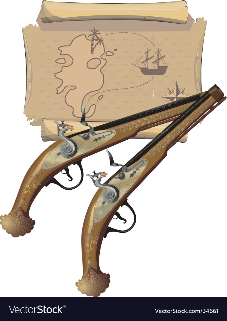 Two pirates pistols and map vector | Price: 3 Credit (USD $3)