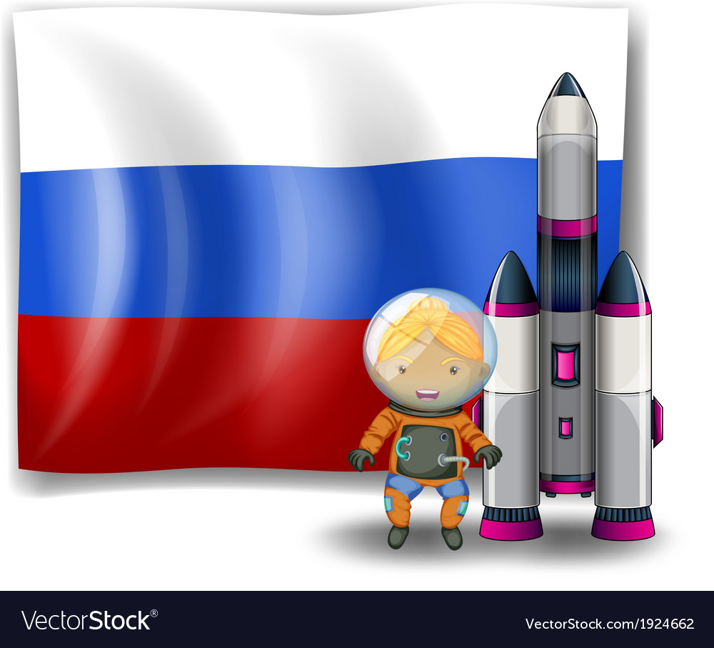 A russian flag with an explorer beside a rocket vector | Price: 3 Credit (USD $3)