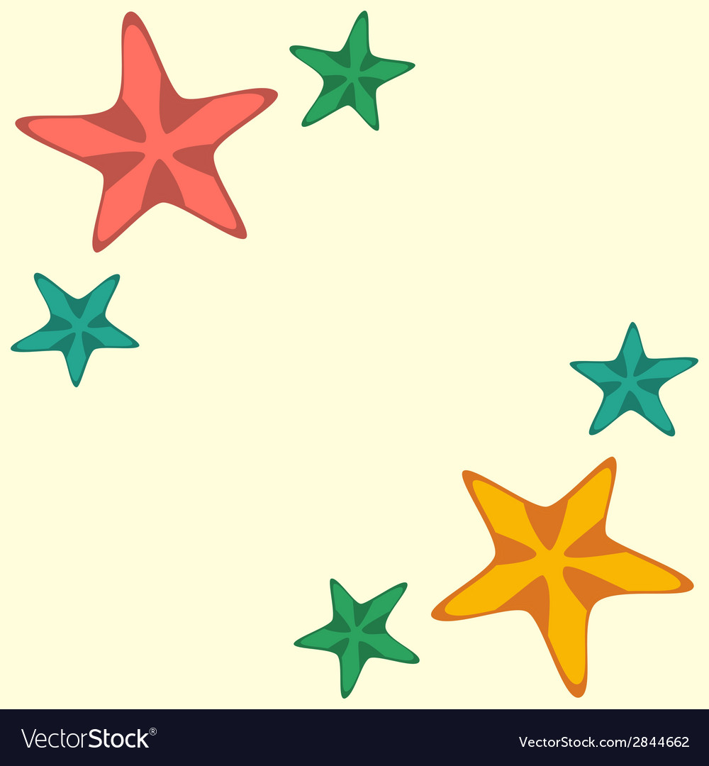 Frame with red and yellow starfishes vector | Price: 1 Credit (USD $1)