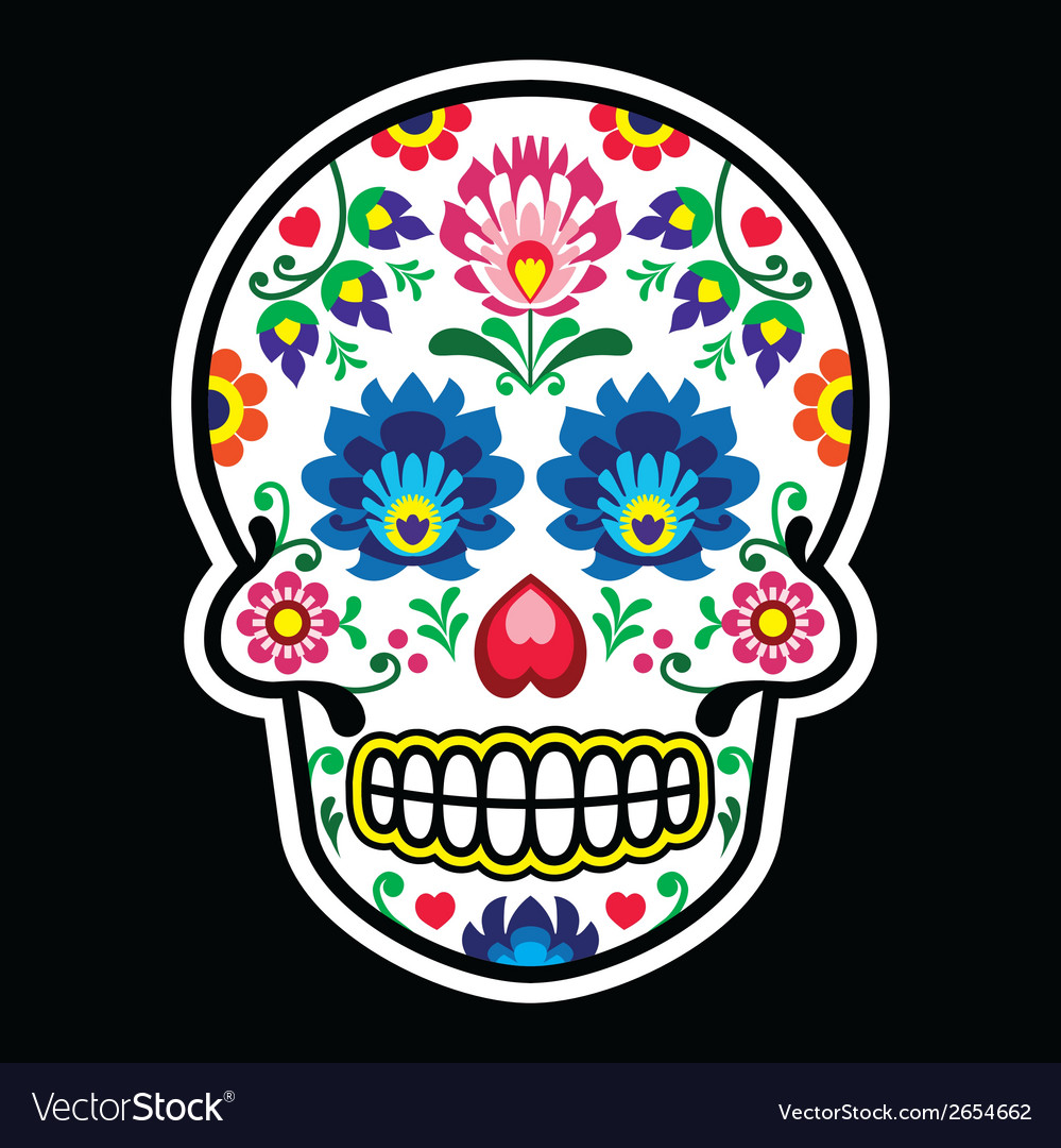 Mexican sugar skull polish folk art style vector | Price: 1 Credit (USD $1)