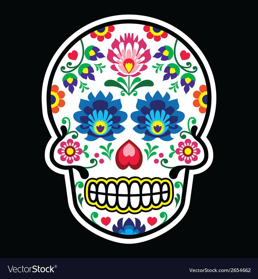 Mexican sugar skull polish folk art style vector