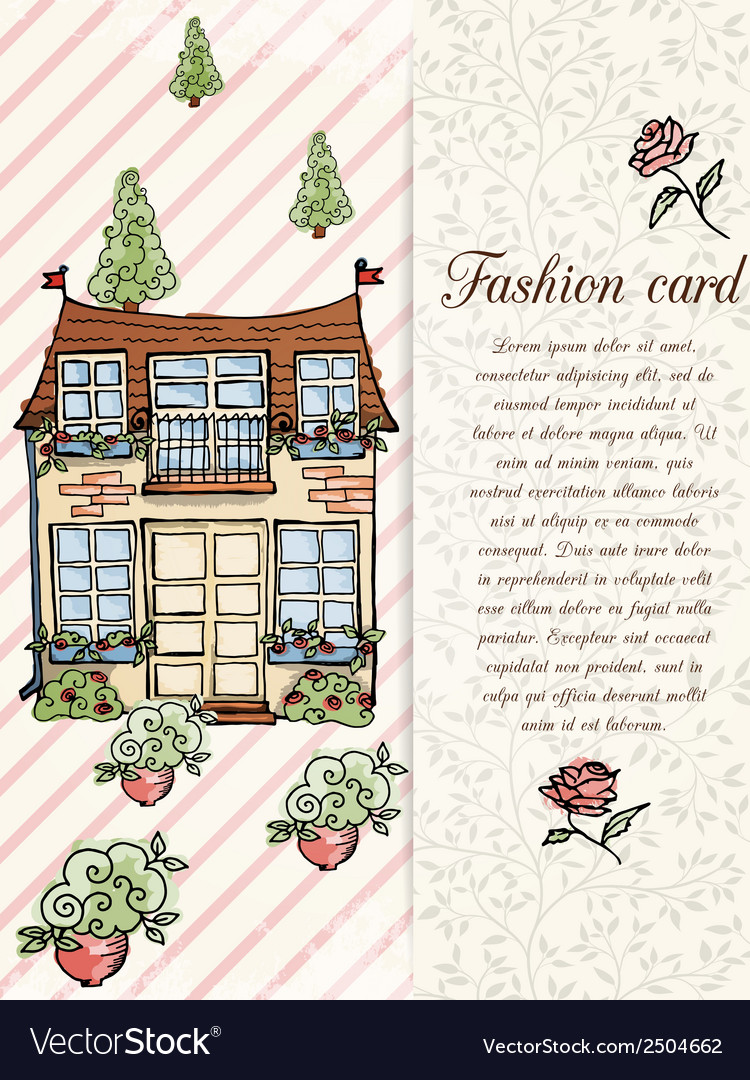 Retro home hand drawn design card vector | Price: 1 Credit (USD $1)